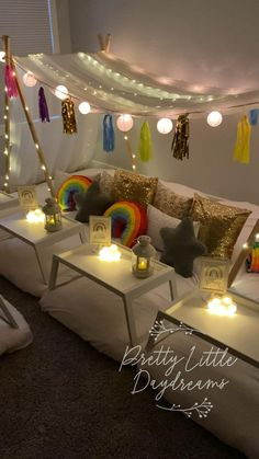 Our sleepover canopy is perfect for both boys and girls of ages 3+! Visit our website to book! We service Grand Rapids MI and surrounding areas! #kids #tenthouseideas #kidstents #ideasforkids #rainbow #rainbowparty #party #overtherainbow #sleepover #sleepoverparty #slumberpartygames #sleepoverideas #kidspartyideas #sleepovertents Slumber Party Ideas, Slumber Party Decorations, Birthday Sleepover Ideas, Birthday Room Decorations, 10th Birthday Parties, Slumber Parties, Girl Birthday, Sweet 16 Sleepover, Sleepover Beds