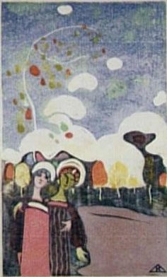 Painter Wassily Kandinsky. Painting. Two Young Girls. 1903 year