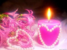 Wallpapers And Backgrounds: Romantic Love Wallpaper Pearl Wallpaper, Love Wallpaper Backgrounds, Flower Wallpaper, Desktop Wallpapers, Romantic Candles, Pink Candles, Beautiful Candles, Valentines, Colors