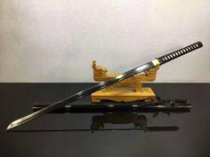 "Ninja Sword,Japanese Samurai(Medium carbon steel black blade,Wood scabbard)Full tang,Length 39"""