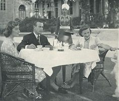 The Viceroy Lord Mountbatten, his wife Edwina and daughter Pamela having breakfast in front of the Viceroy's Lodge in Shimla, a hill station of Himachal Pradesh, India.  During the summer months the British Raj moved its administration to the cool mountain hill stations of the Himalayas.