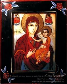 Maica Domnului de la Nicula icoană naivă pictată pe dosul sticlei în ulei pictură tradițională lucrare de artă religioasă icoană ortodoxă pe sticlă icoană Maica Domnului de la Nicula icoană  pictată  pe sticlă cu Maica Domnului de la Nicula