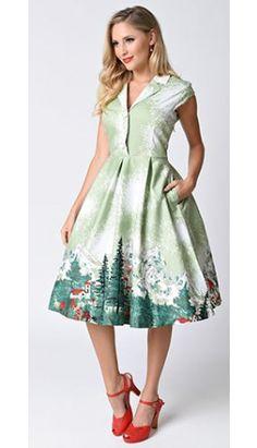 Lindy Bop Retro Style Green Alpine Print Gilda Shirt Dress