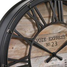 Klok Vintage Bruin - Wanddecoratie - Eminza Structure Metal, Style Vintage, Decoration, Clock, Car, Unique, Products, Running Late, Wood Clocks
