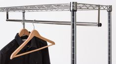 Hanging Bar For Clothes - Commercial Grade Chrome Finish - Wire Shelf Additions #shelfadditions