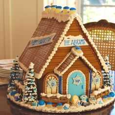 Large Hanukkah Gingerbread House from The Solvang Bakery! - Send a Hanukkah House for the holidays!
