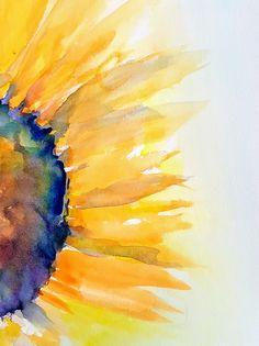 Sunflower Watercolor Painting, original watercolor, yellow orange petals close up, cottage kitchen art decor, matted by ThePaintedLifeStudio on Etsy Watercolor Sunflower, Watercolor Ideas, Artwork Paintings, Watercolor Paintings, Sunflower Hearts, Guest Rooms, Canvas Ideas, Kitchen Art, Sunflowers