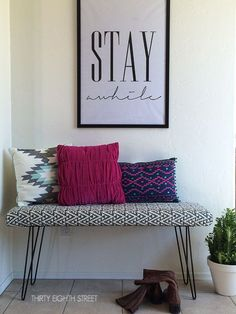 DIY Modern Flair Furniture Makeovers - what a fun hairpin bench and mix of fabric patterns!