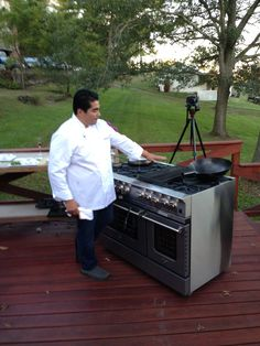 Chef Jose Garces getting ready to cook on a BlueStar Platinum Range!