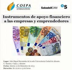 Jornada gratutia para emprendedores y empresas: instrumentos de apoyo financiero. #Alicante el 10/12.