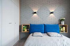 Z tej sypialni najbardziej podobają nam się szafki nocne. Ale ta cegła też jest fajna na jakąś niedużą ścianę w salonie Oświetlenie kinkietowe nam się nie podoba.