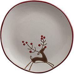 Prancing reindeer. Simple Christmas Plate.