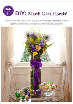 DIY Mardi Gras Floral arrangement