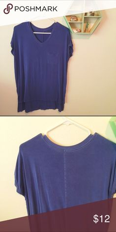 AEO soft and sexy top Blue t-shirt from the soft and sexy line. Fits oversized and looks great with leggings. V-neck, small slits on the sides. No flaws. American Eagle Outfitters Tops Tees - Short Sleeve