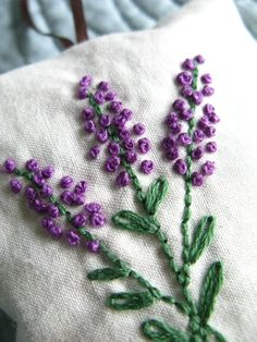 Lavender Sachet Hand Embroidered Flowers by allisajacobs on Etsy Mais French Knot Embroidery, Ribbon Embroidery, Embroidery Art, Cross Stitch Embroidery, Embroidery Patterns, Japanese Embroidery, Art Patterns, Lavender Sachets, Lavender Flowers