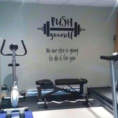 fitness Room - Push yourself No one else is going to do it for you, Workout Room Wall Vinyl, Weight room Exercise room home gym wall art wall decal Basement Workout Room, Home Gym Basement, Home Gym Garage, Workout Room Home, Diy Home Gym, Gym Room At Home, Home Gym Decor, Workout Rooms, Workout Room Decor