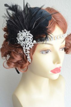 Black headpiece with an Art Deco 1920s vibe, a stunning large brooch used on the detachable fascinator, paired with a rhinestone headband. READY TO SHIP.