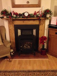 Traditional Christmas fireplace and gas stove.