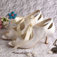 Custom Vintage Victorian style low mid heel bridal peeptoe satin cut out ankle boot with satin ribbon tie-up - 14 colours