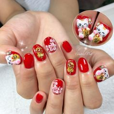 "150 Likes, 2 Comments - AmelieSingapore シンガポール (@amelienails) on Instagram: ""Chinese New Year nails ~"""