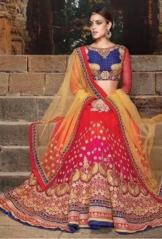 Blue and red orange designer party wear lehengha