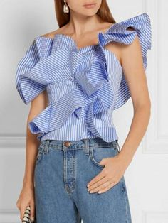 Blue Striped One Shoulder Structured Ruffle Top Blouses One Shoulder Ruffle Top, White Off Shoulder, One Shoulder Tops, Shoulder Shirts, Afro, Stylish Shirts, Popular Outfits, Blouse Outfit, Blue Stripes