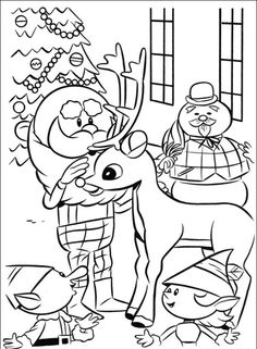 Rudolph the RedNosed Reindeer coloring picture  school crafts