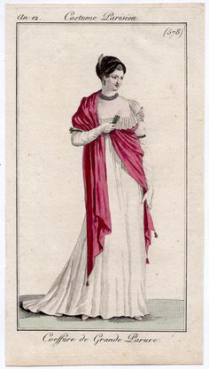 White gown with short train, an12 Costume parisien