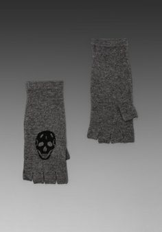 SKULL CASHMERE REVOLVE Exclusive Skull Glove in Smog/Black