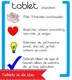 Poster met gebruiksafspraken van tablet - Juf Anja