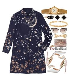 """""""Holiday Sparkle With The RealReal: Contest Entry"""" by ssm1562 ❤ liked on Polyvore featuring Manolo Blahnik, Valentino, Chanel, Oliver Peoples, Cartier, Yvel and Tiffany & Co."""