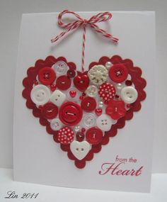 This handmade Valentine's Day card says it all - gorgeous red heart filled with buttons!