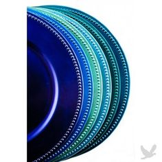 Peacock Blue Charger Plates, which I would use as decorative bases for rounded, heavier art objects. Peacock Decor, Peacock Theme, Peacock Design, Peacock Wedding, Peacock Blue, Blue Wedding, Diy Wedding, Peacock Colors, Wedding Ideas