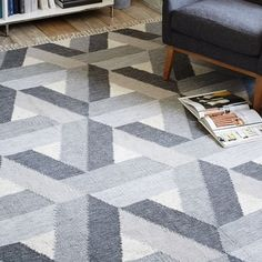 Or maybe this for the living room? Matrix Wool Kilim Rug - Slate | West Elm