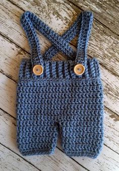 Crochet Baby Shorts/Pants with Suspenders- Diaper Cover in Stonewash Newborn to 12 Month Size- MADE TO ORDER Häkel-Latzhose - Newborn Diaper Change Crochet Baby Pants, Crochet Bib, Crochet For Boys, Baby Blanket Crochet, Crochet Clothes, Free Crochet, Newborn Crochet, Diy Clothes, Crochet Shorts