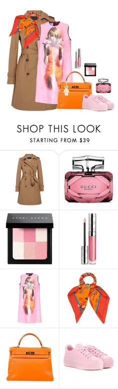 """Untitled #66"" by sharonvandoesburg ❤ liked on Polyvore featuring J.Crew, Gucci, Bobbi Brown Cosmetics, By Terry, Prada, Hermès and Kenzo"