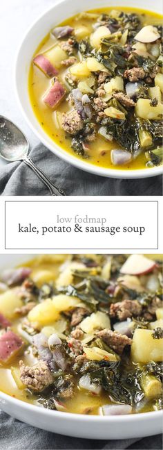 Warm up with a bowl of delicious Low FODMAP Kale, Potato, and Sausage Soup! Not only is this recipe veggie-filled, but it's also gluten and dairy free! | funwithoutfodmaps.com | #lowfodmap #whole30 #soup