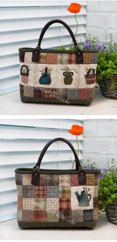 퀼트미 [허브 토트백] Japanese Patchwork, Japanese Bag, Patchwork Bags, Quilted Bag, Handmade Purses, Handmade Handbags, Work Handbag, Purse Patterns, Fabric Bags