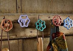 vintage faucet handles repurposed into hooks.