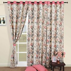 Printed Curtains Online: Living Room Cotton Curtains in Australia Pink Curtains, Printed Curtains, Cotton Curtains, Window Curtains, Pink Carnations, Living Spaces, Living Room, Modern Prints, Windows And Doors