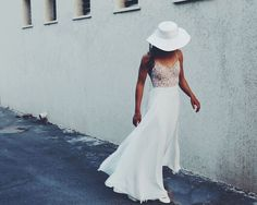 Chiffon Wedding Gown Crochet Wedding Dress Bohemian Wedding
