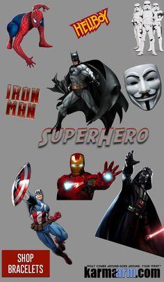 "Bracelets: Batman Spiderman ""Star Wars"" ""Captain America""  Superhero ""DC Comics"" Marvel Avengers Bracelets Comic-Con"