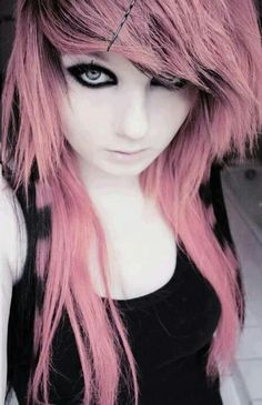Love the pink scene hair!....I think that's a bit to much liner!