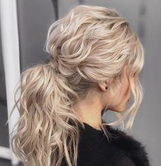 Ponytail Hairstyles, Wedding Hairstyles, Dyed Blonde Hair, Big Hair, Bridesmaid Hair, Wedding Things, Bridal Hair, Locks, Curls
