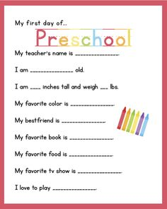 free my first day of school interview printable - Free Printable Preschool Activities