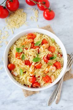 Tomato-Basil Shrimp with Orzo is simple to prepare! This pasta dish is made with fresh, feel good ingredients.