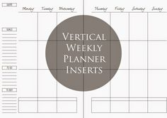 MsWenduhh Planning & Printing: Simple Vertical Weekly Layout Inserts