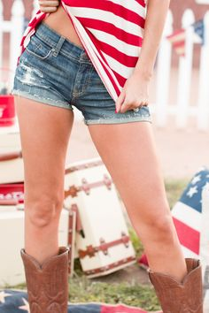 Born in the USA Dark Wash Denim Shorts from Closet Candy Boutique