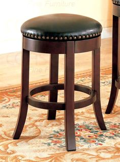 Contemporary Wood Counter Stool w Riveted Swivel Upholstery Seat Cushion - Set of 2