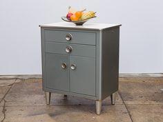 Norman Bell Geddes Style Industrial Modern Vintage Metal Side Cabinet